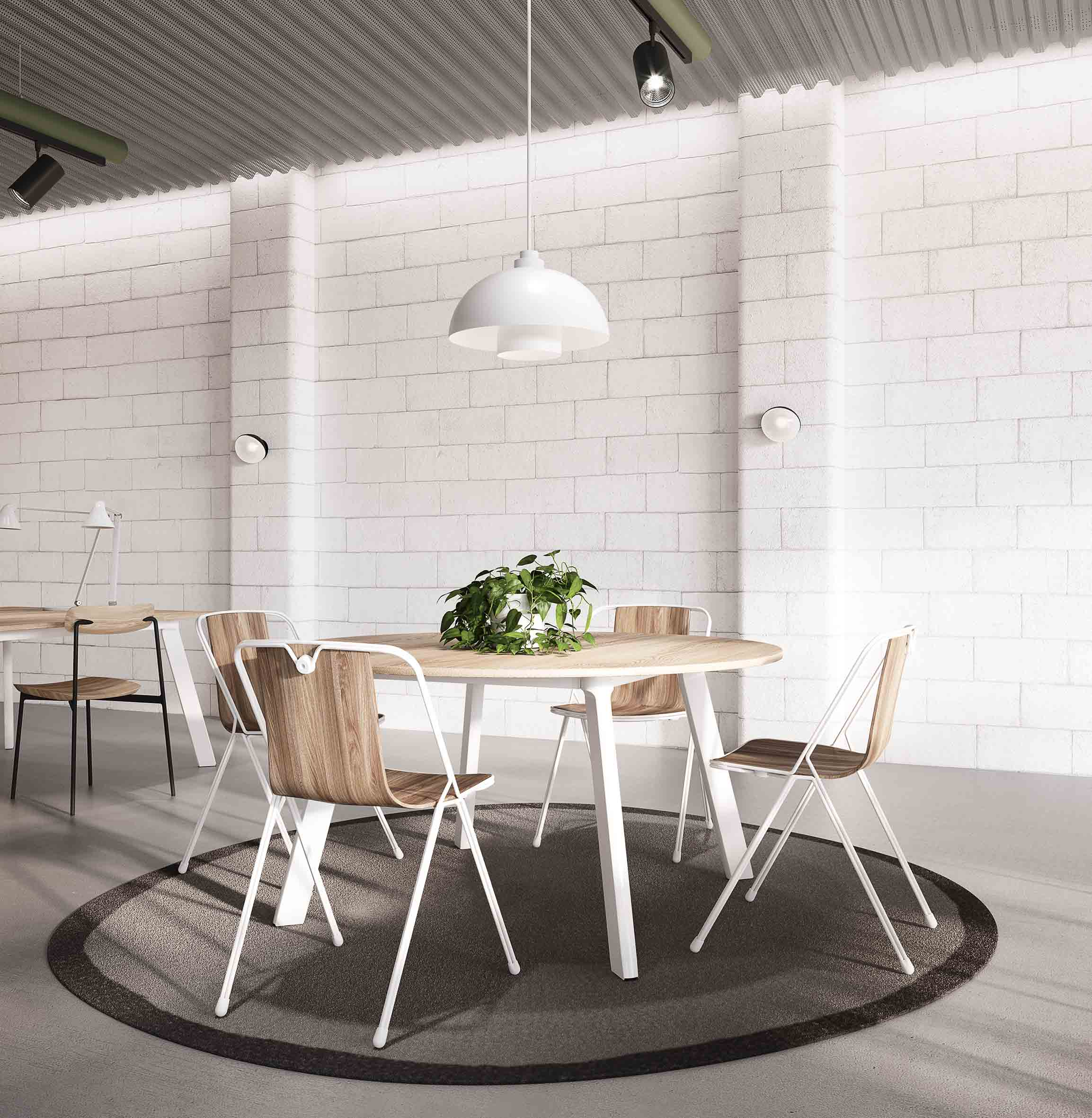 03_Chameleon table D140 and Strand chairs